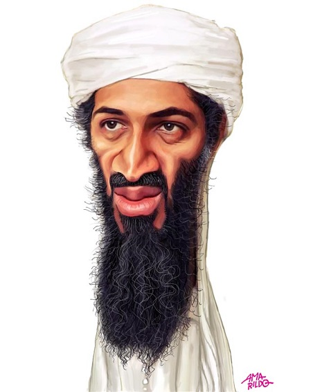 Carricatura do terrorista saudita Osama Bin Laden, feita por Amarildo.
