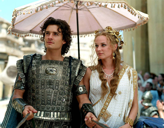 "Orlando Bloom e Diane Kruger em cena do filme ""Troia"""
