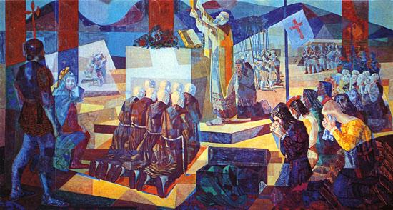 """""""A Primeira Missa no Brasil"""", de Cândido Portinari (1948) / coleção particular."""