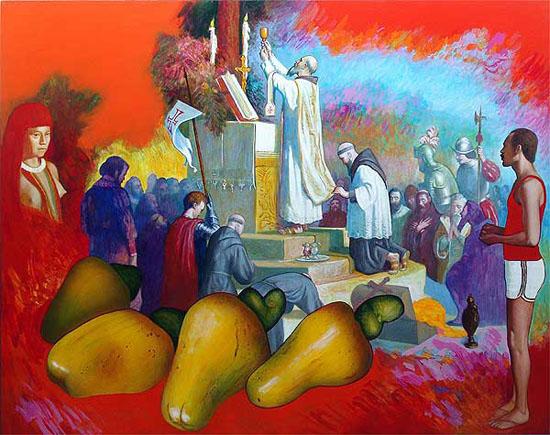 """""""A Segunda Missa no Brasil"""", de Glauco Rodrigues, 1996. Créditos: Glauco Rodrigues / Museu de Arte do Rio Grande do Sul."""
