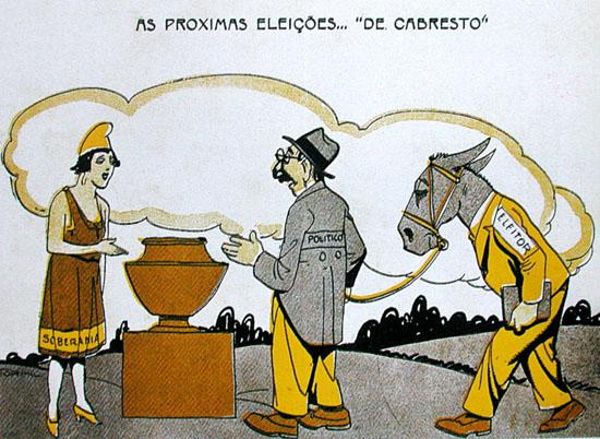 Charge de Storni, publicada em 1927, na revista Careta, ironizando o voto de cabresto.  Legenda da charge: Ella - É o Zé Besta? Elle - Não, é o Zé Burro?