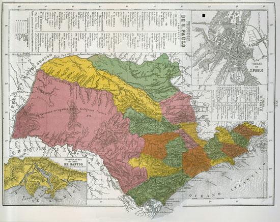 Mapa da Província de São Paulo publicado no Atlas do Império do Brazil, editado em 1868 por Cândido Mendes. Créditos: Atlas do Imperio do Brazil. Instituto Philomathico
