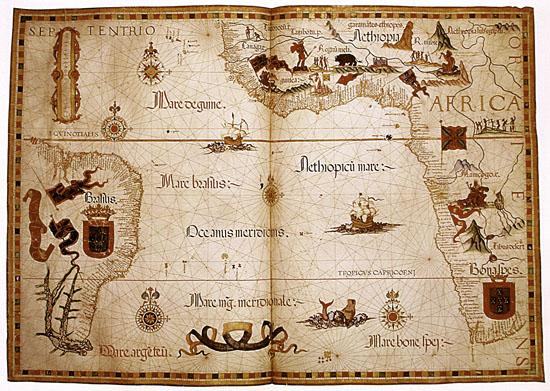 Mapa do Queen Mary Atlas, de 1558, feito pelo português Diogo Homem. Créditos: Diogo Homem / British Library.