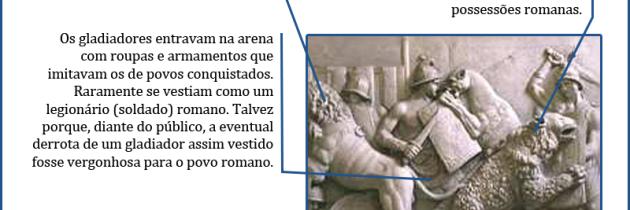 Representação de luta entre gladiadores e feras